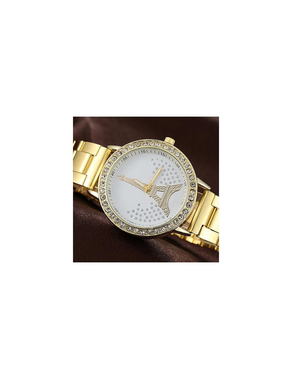 Reloj dorado Torre Eiffel