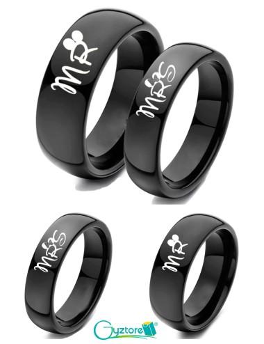 Anillos MR & MRS para parejas de acero inoxidable