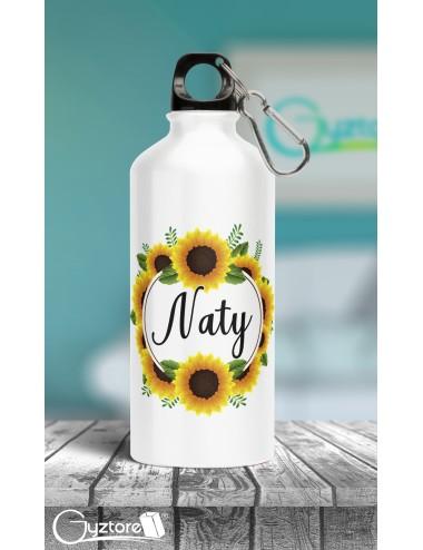 Botella de girasol personalizable con nombre