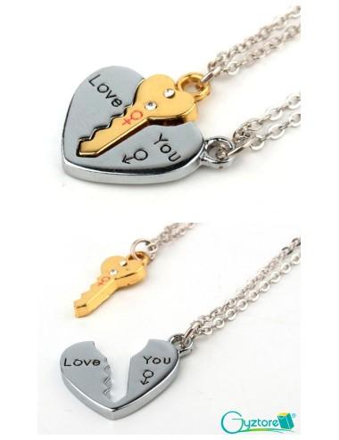 Collar I LOVE YOU para parejas corazón y llave