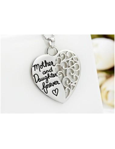 Collar plateado de corazón Madre e Hija por siempre