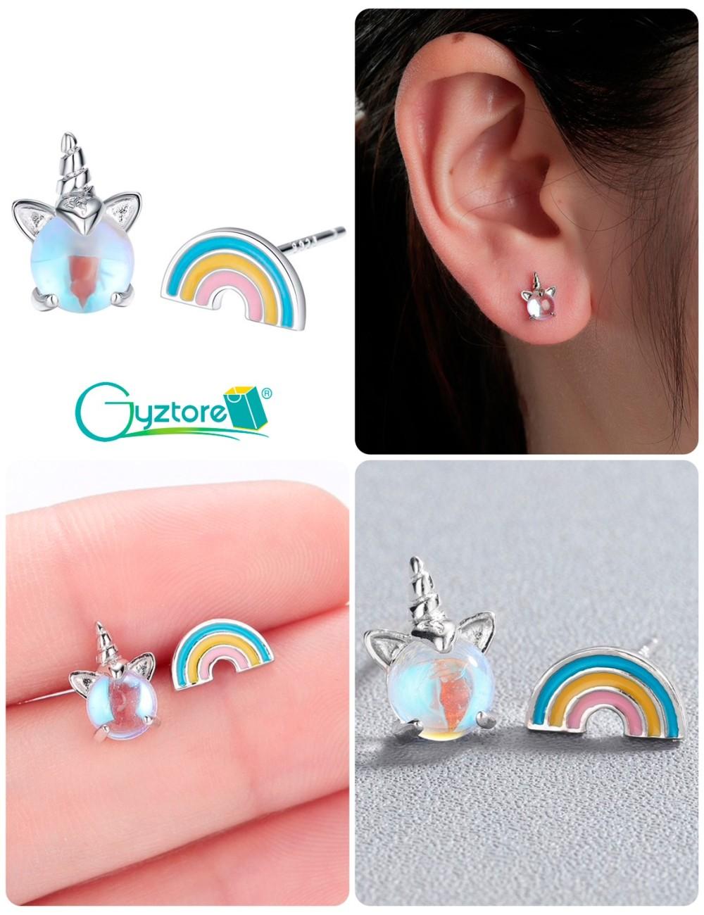 Aretes de unicornio y arcoíris