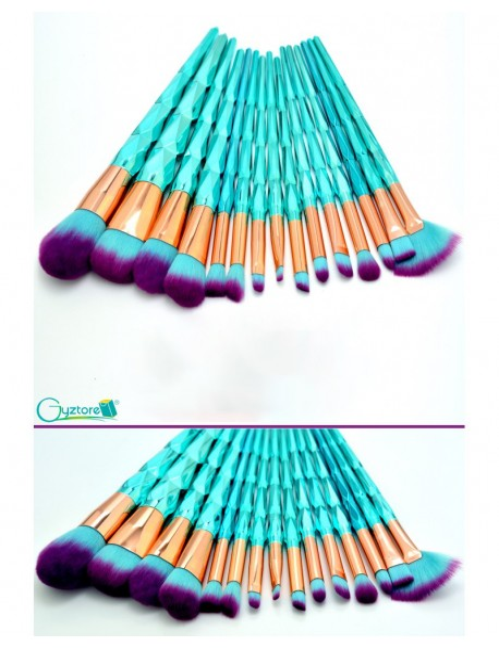 Set 16 brochas diseño diamante turquesa y brocha de pez