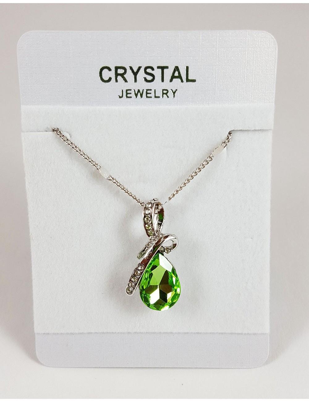 Collar Austriaco Diseño Gota Cristal Verde