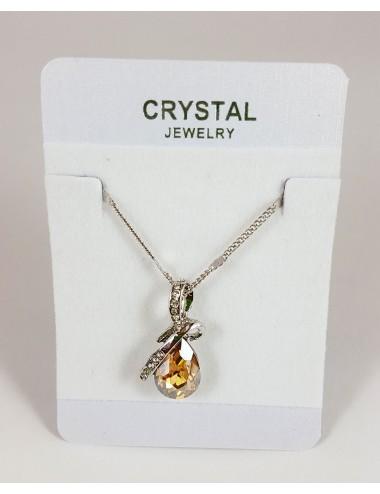 Collar Austriaco Diseño Gota Cristal Dorado