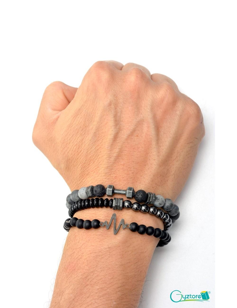 Set de 3 pulseras para hombre