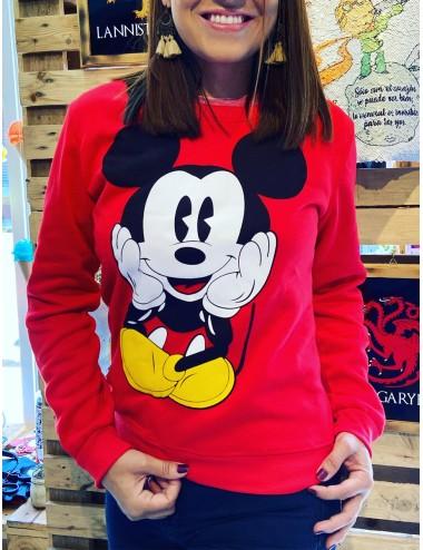 Sueter rojo con estampado de Mickey Mouse