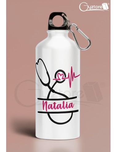 Botella para personal de salud personalizable con nombre