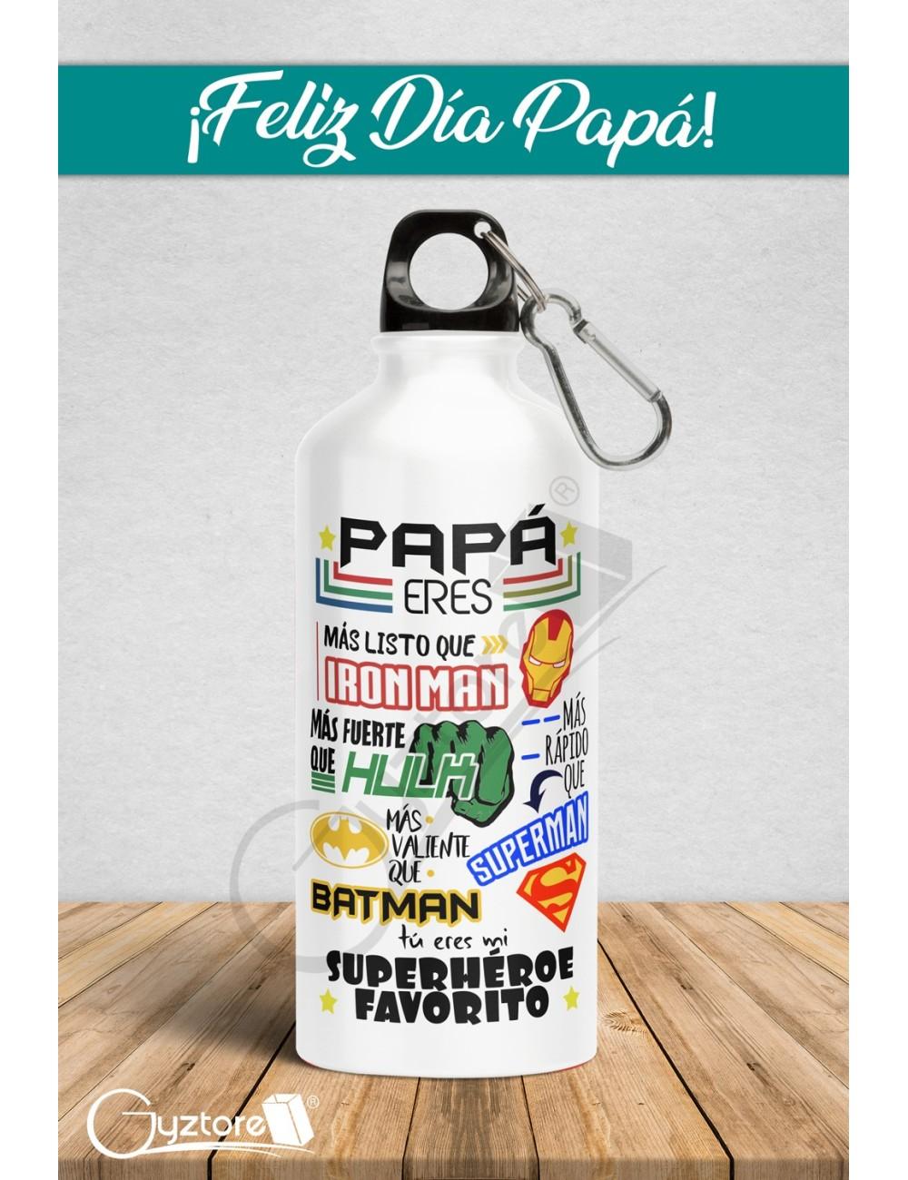 "Botella para papá ""Mi superhéroe favorito"""