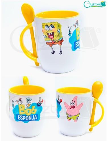 """Taza de cerámica con cuchara diseño """"Bob Esponja"""""""