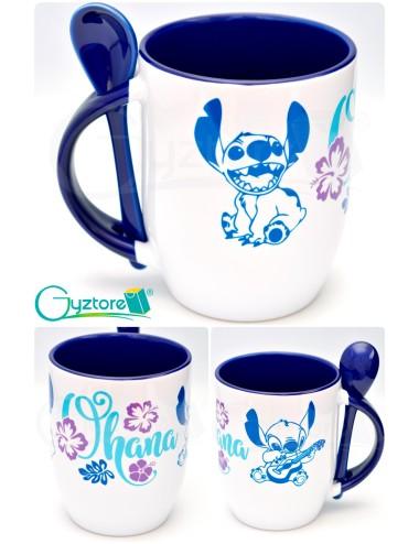"Taza de cerámica con cuchara diseño ""Stitch"""
