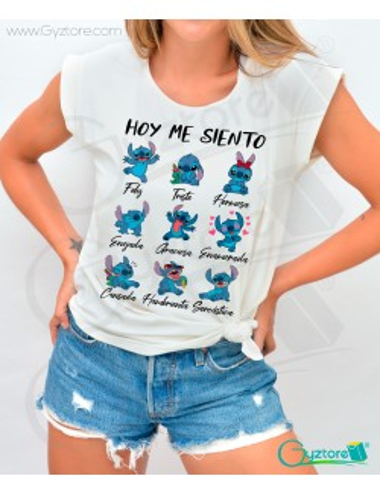 Blusa gris diseño de Stitch