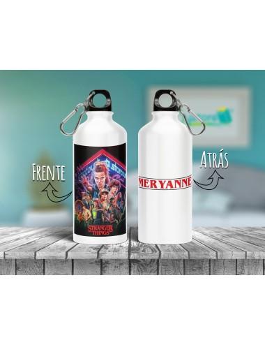 Botella Stranger Things personalizable con nombre