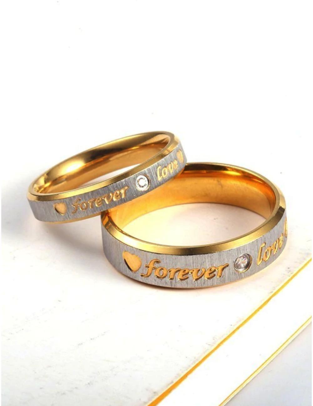"""Anillos para parejas de acero inoxidable dorado con plateado """"Forever Love"""""""