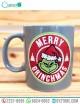 """Taza Gris diseño del Grich """"Merry Grinchmas"""""""