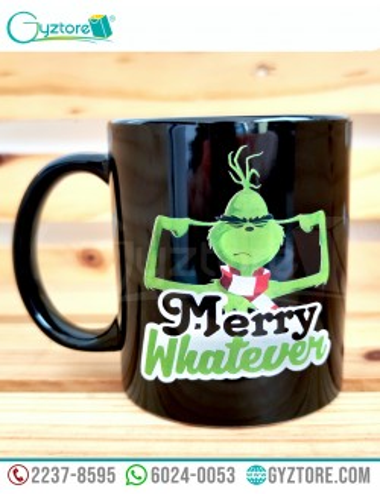 "Taza negra diseño del Grich ""Merry Whatever"""