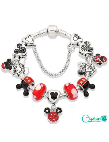 Pulsera roja con dijes de Mickey y Minnie