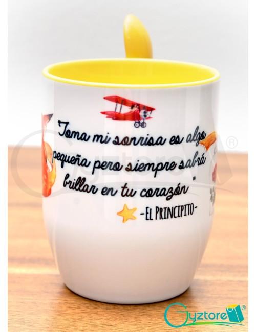 Taza de cerámica con cuchara diseño de El Principito