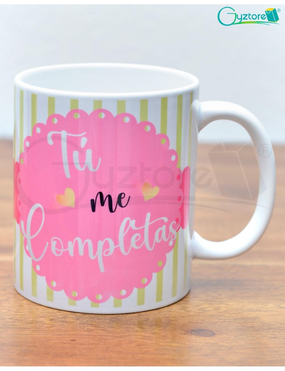 "Taza para parejas diseño Aguacate, ""Tú me completas"""