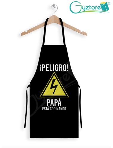 """Delantal """"Peligro, papá está cocinando"""""""