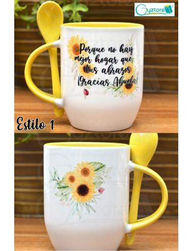 Taza de cerámica con cuchara diseños para mamá