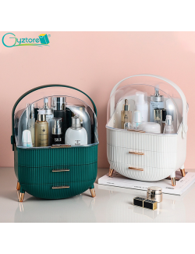 Cosmetiquera/organizador color verde y blanco