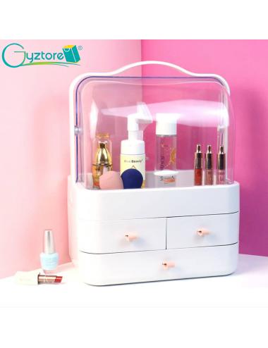 Cosmetiquera/organizador color blanco y rosado