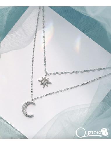 Collar plateado doble de estrella y luna