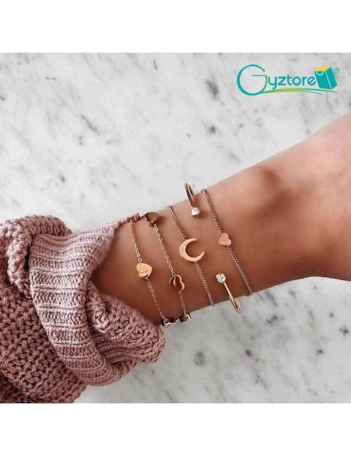 Set de pulseras de bronce diseños de corazón