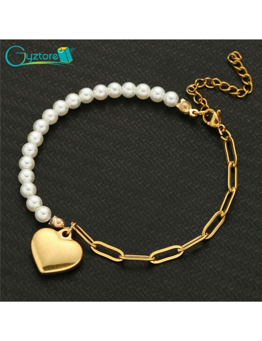Pulsera de acero de cadena y perlas