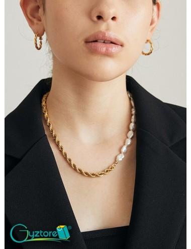 Collar mix cadena y perlas de oro láminado