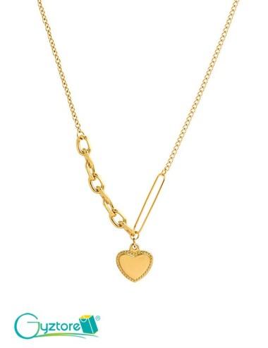 Collar dorado con dije de corazón acero inoxidable y baño en oro