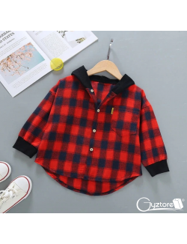 Camisa de franela roja con gorro y diseño de Mickey