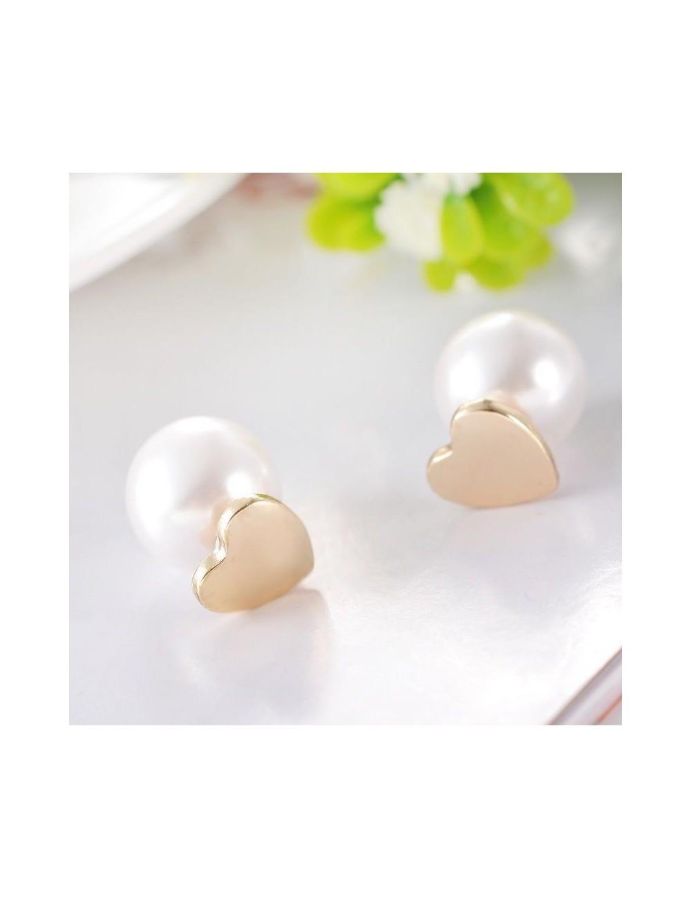 Aretes de corazón y perla