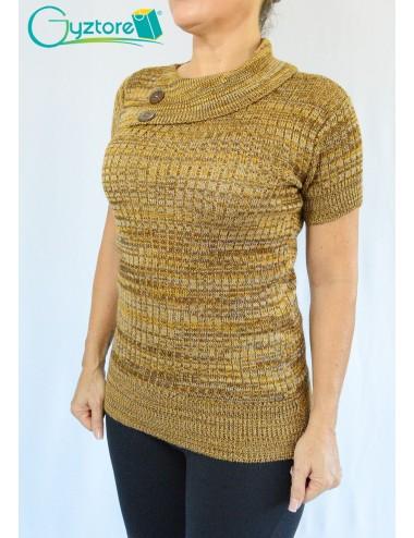 Blusa artesanal tejido a mano estilo cuello con doblez